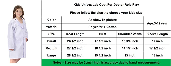 CalorMixs America Kids Unisex Doctor Lab Coat /& Childrens Doctor Scrub Set Role Play Costume Dress-Up for Christmas Halloween