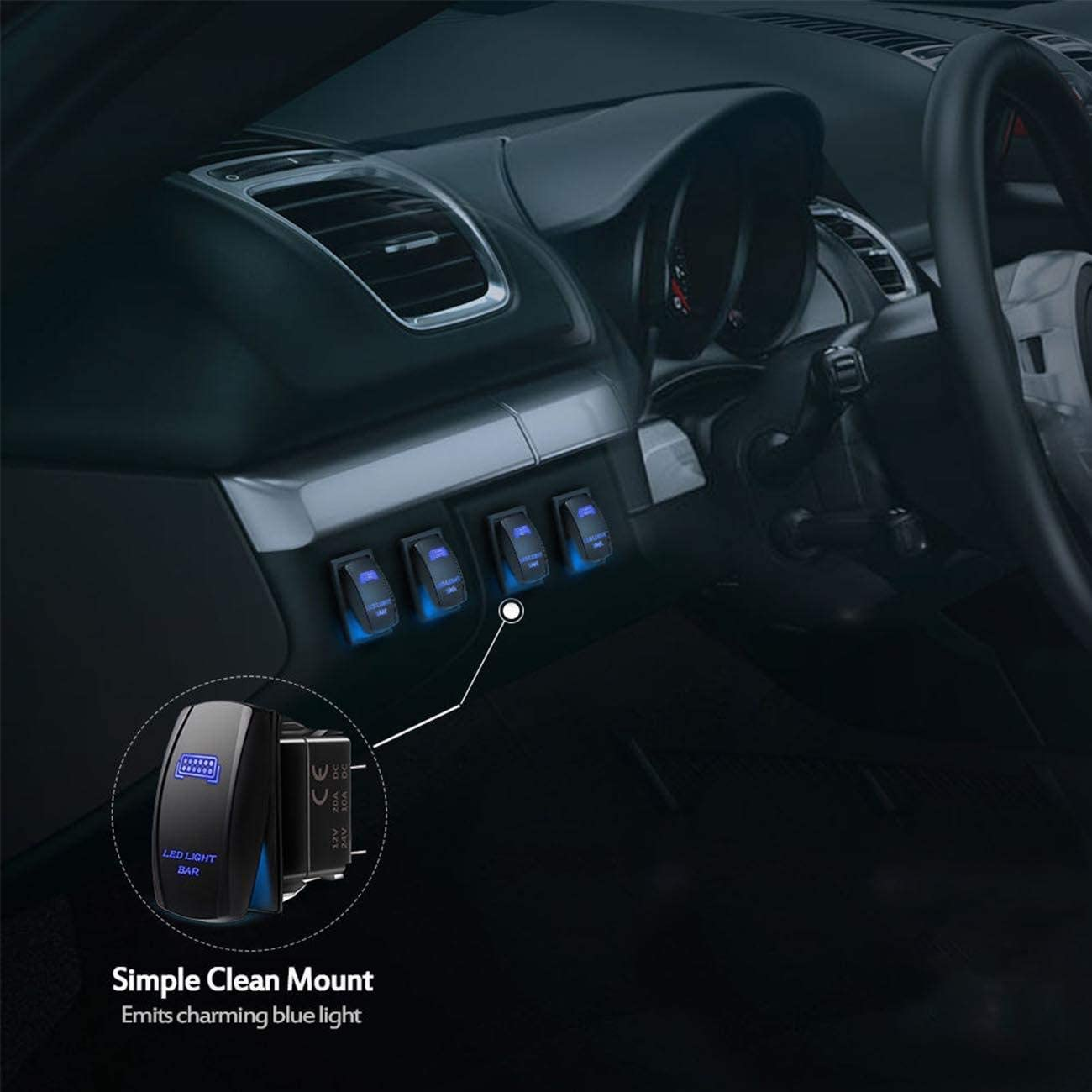24V LED Switch Panel Wippschalter Schalttafel Schutzschalter Auxbeam 5 Pin on-off Rocker Switch Auto DC12V
