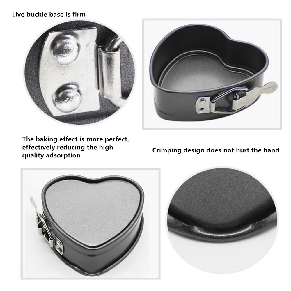 Cake Pans 4 inch Love Heart Shape Non-Stick Baking Trays Set Carbon Steel Cake Pan 8 inch Round Cake Baking Pans Kitchen Tools Cake Baking Tray with Removable Bottom Base Tray for Oven by Easy Style (Image #3)
