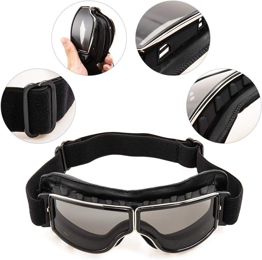 evomosa Occhiali da moto in pelle PU,Occhiali da sole antivento Occhiali sportivi Occhiali da bici retr/ò per occhiali da motocross ATV nero A