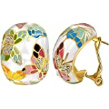 YELLOW CHIMES Queen of Versailles Enamel Austrian Crystal Pendant and Earrings for Women and Girls