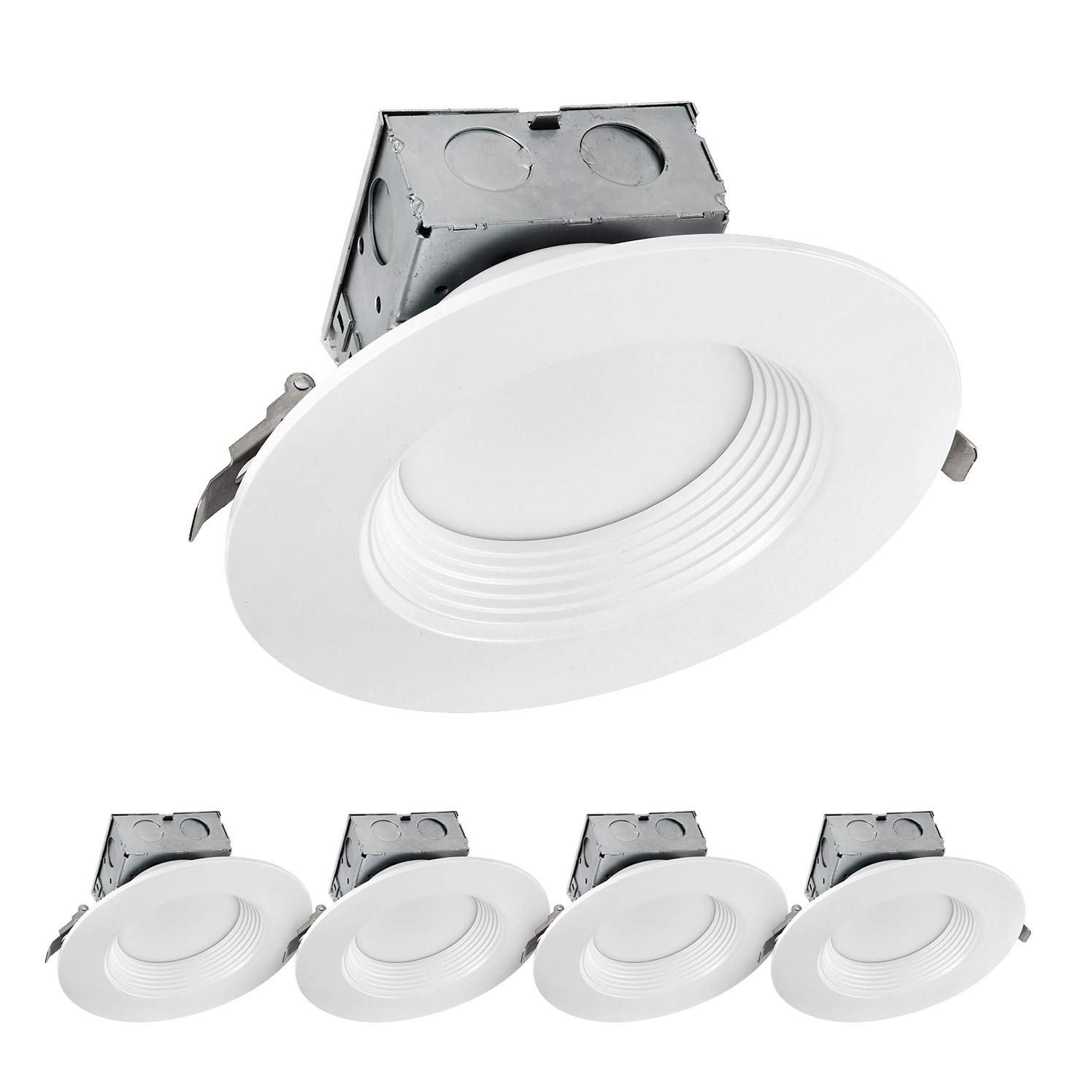 LUXTER (4 Pack) 6 inch LED Ceiling Recessed Downlight With Junction Box, LED Canless Downlight, Baffle Trim, Dimmable, IC Rated, 15W(120Watt Repl) 4000K 1100Lm Wet Location ETL and Energy Star Listed