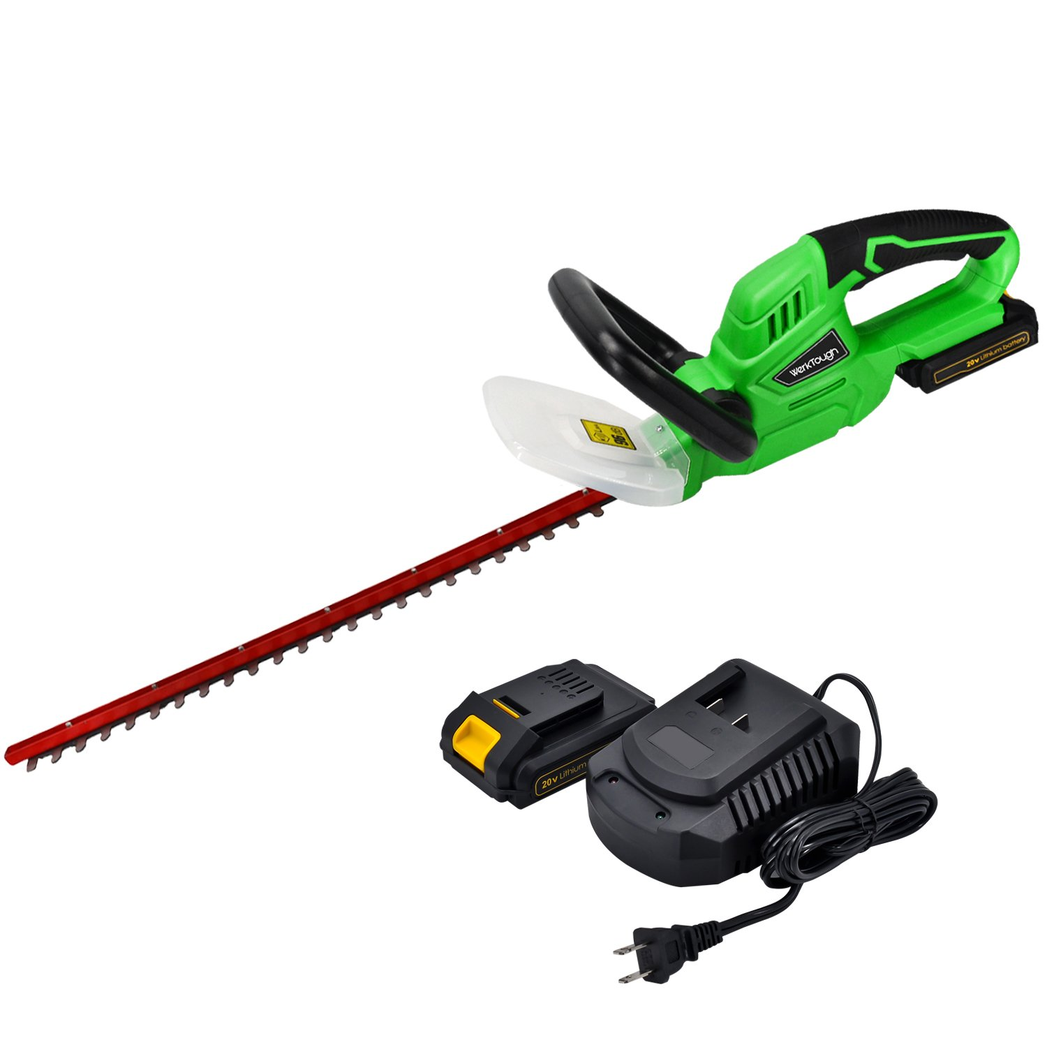 Werktough HT001 20V Li-ion Cordless Hedge Trimmer,2.0 AH Battery Charger Included
