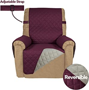 PureFit Reversible Quilted Recliner Sofa Cover, Spill, and Water Resistant Slipcover Furniture Protector, Washable Couch Cover with Adjustable Strap for Kids, Pets (Recliner, Wine/Beige)