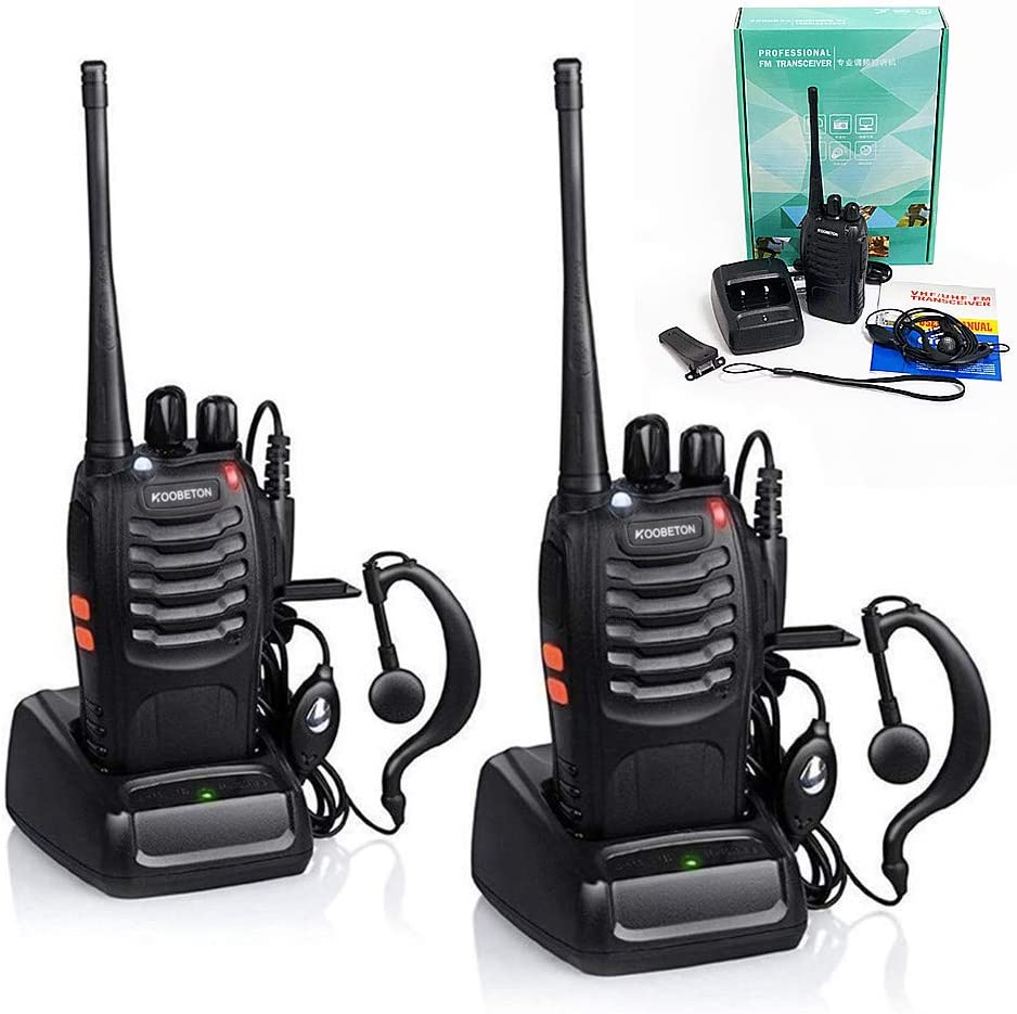 Rechargeable Long Range Two-Way Radios with Earpiece KOOBETON UHF VHF 400-470Mhz Walkie Talkies Li-ion Battery and Charger Included 2pcs Pack