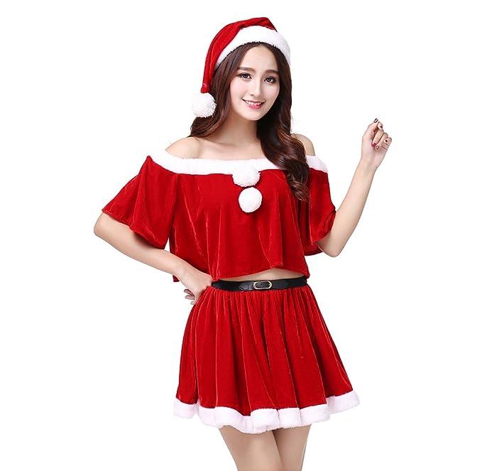 Foto Di Natale Con Donne.Wanyang Donne Sexy Gonna Di Natale In Velluto Rosso Con