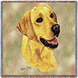 Pure Country 1152-LS Yellow Lab Pet Blanket, Canine on Beige Background, 54 by 54-Inch