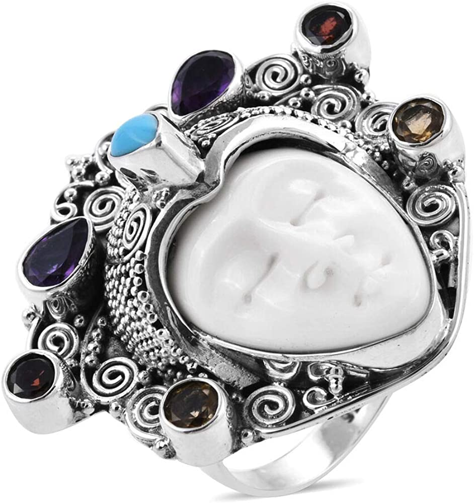 Tjc Ox Carved Bone Face Ox Bone Carved Face Ring For Women In 925 Sterling Silver With Sleeping Beauty Turquoise Amethyst Multi Gemstones Size P 2 171 Ct Amazon Co Uk Jewellery