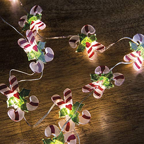 Primitives by Kathy Miniature Battery Operated Wire Light Strand 5' Long (Candy Canes)