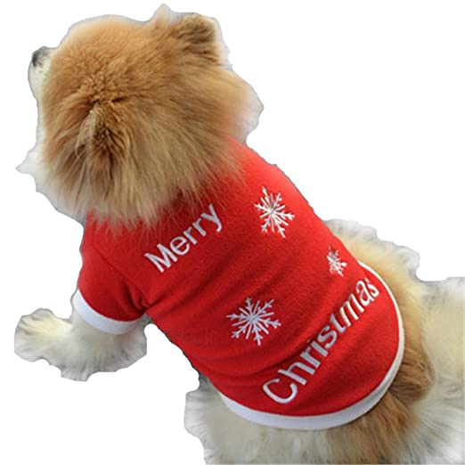 Amazon.com: Pet Christmas Outfit, Howstar Small Dog Sleep Shirt ...