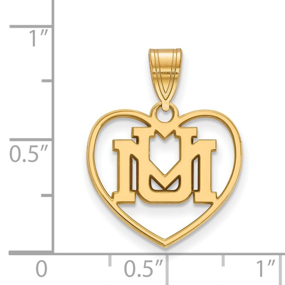 17mm x 23mm Jewel Tie 925 Sterling Silver with Gold-Toned University of Montana Pendant in Heart