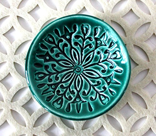 - Green Ring Dish - Handmade Jewelry Bowl - Bohemian/Boho dish with stamped floral pattern and emerald green glaze