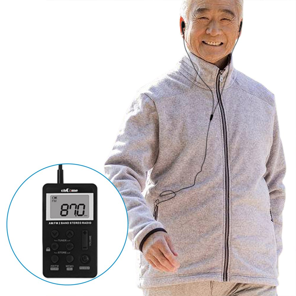ohCome Pocket AM FM 2 Band Stereo Radio Mini DSP Digital Tuning Receiver with LCD Screen Rechargeable Battery and Earphone for Walking (Black) by ohCome (Image #7)