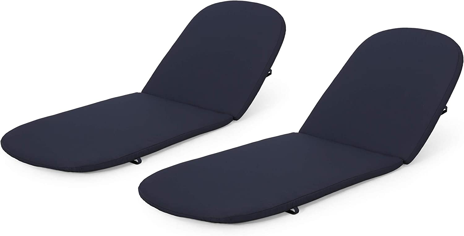 Christopher Knight Home Caspar Outdoor Water Resistant Chaise Lounge Cushions (Set of 2), Navy Blue