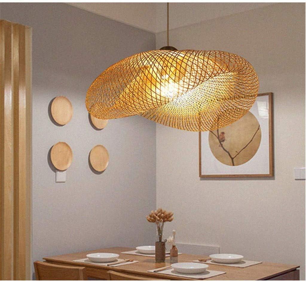 Vintage-Lampen natürliche Bambus und Licht Lounge Deckenleuchter gewebt hängen, Rattan Federung Federung kreativ, E27 Restaurant Tearoom Laternen gewebt,Ø60cm Ø60cm
