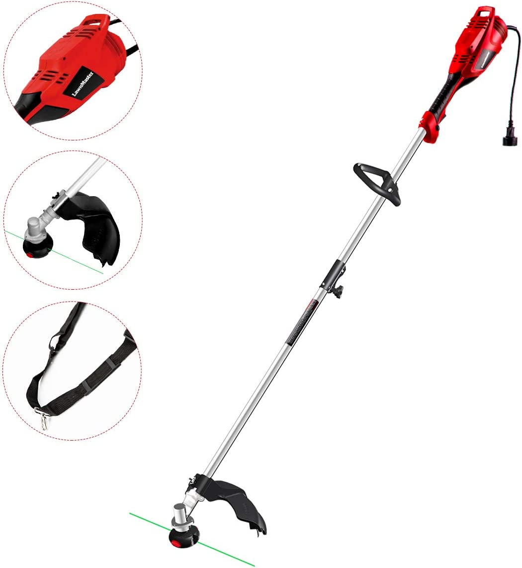 LawnMaster Red Edition GT1644 Electric String Trimmer 10 Amp 16-Inch Corded Grass Trimmer Lightweight