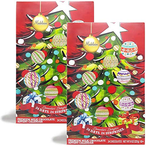 Christmas Tree Countdown Advent Calendar, Filled with (8 oz - 226 g) Solid Premium Milk Chocolate Presents (2 Pack)