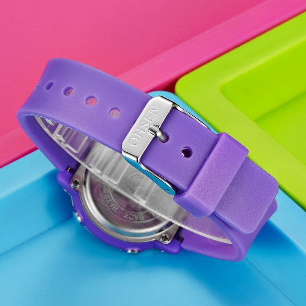 841d184a05ae PIXNOR Chicas de múltiples funciones resistente al agua luz de fondo  pantalla cuarzo reloj deportivo OHSEN niños mujeres (púrpura)  Amazon.es   Deportes y ...
