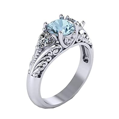 1e046d2c5 Amazon.com: Lethez Couple Rings, Women's Exquisite Sapphire Diamond Rings  Engagement Wedding Jewelry: Jewelry