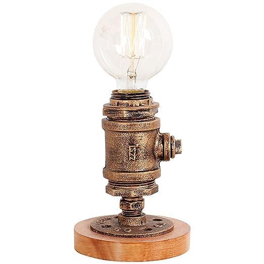 Pointhx Tradicional Edison E27 1-Retro Lámpara de mesa de madera ...