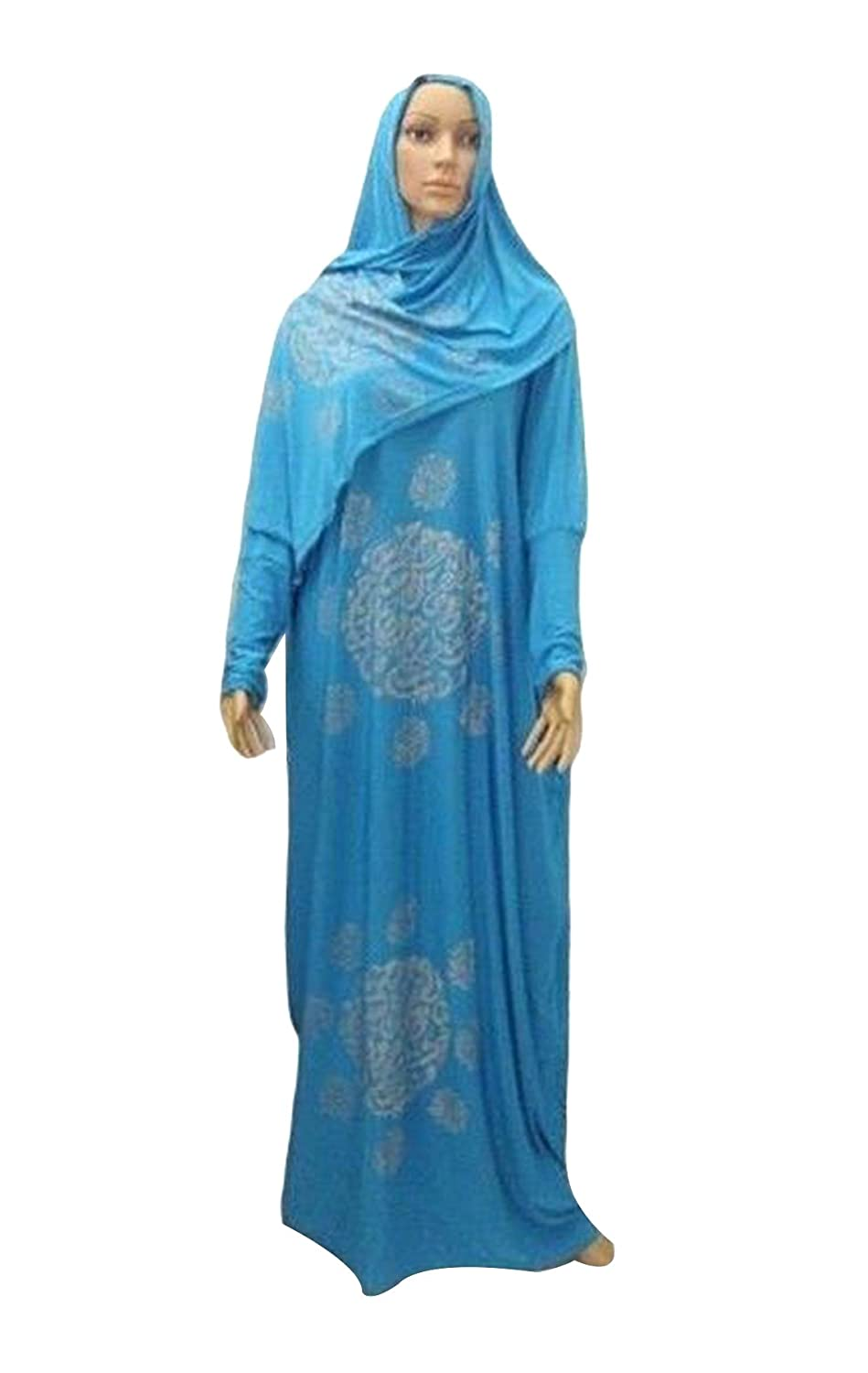 Amazon.com: Black Muslim Islam Prayer Dress Galabeya Isdal Caftan ...