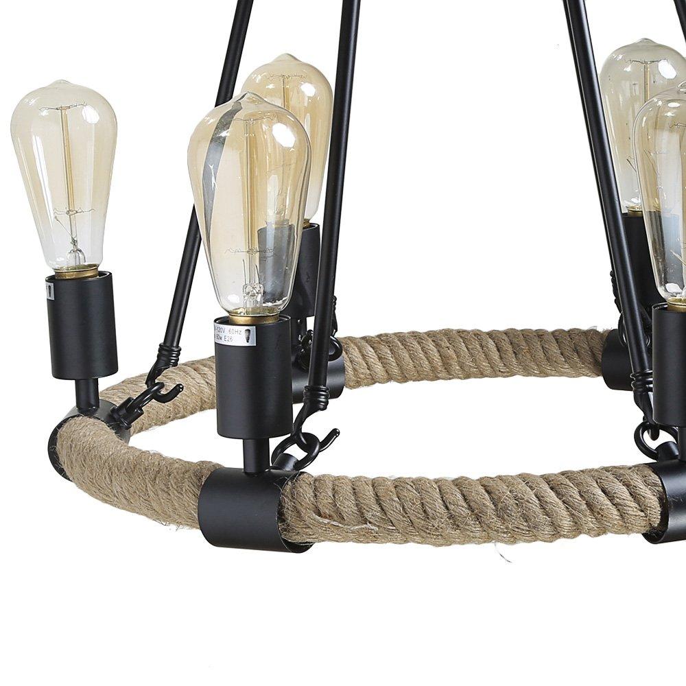 LNC A0253202 Rustic Rope 6 Pendant Lighting Chandeliers Brown