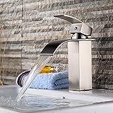 Bathroom Faucets Stainless Steel Yodel Stainless Steel Single Handle Waterfall Bathroom Vanity Sink Faucet, Brushed Nickel