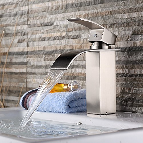 1 Waterfall (Yodel Single Handle Waterfall Bathroom Vanity Sink Faucet (Brushed Nickel))