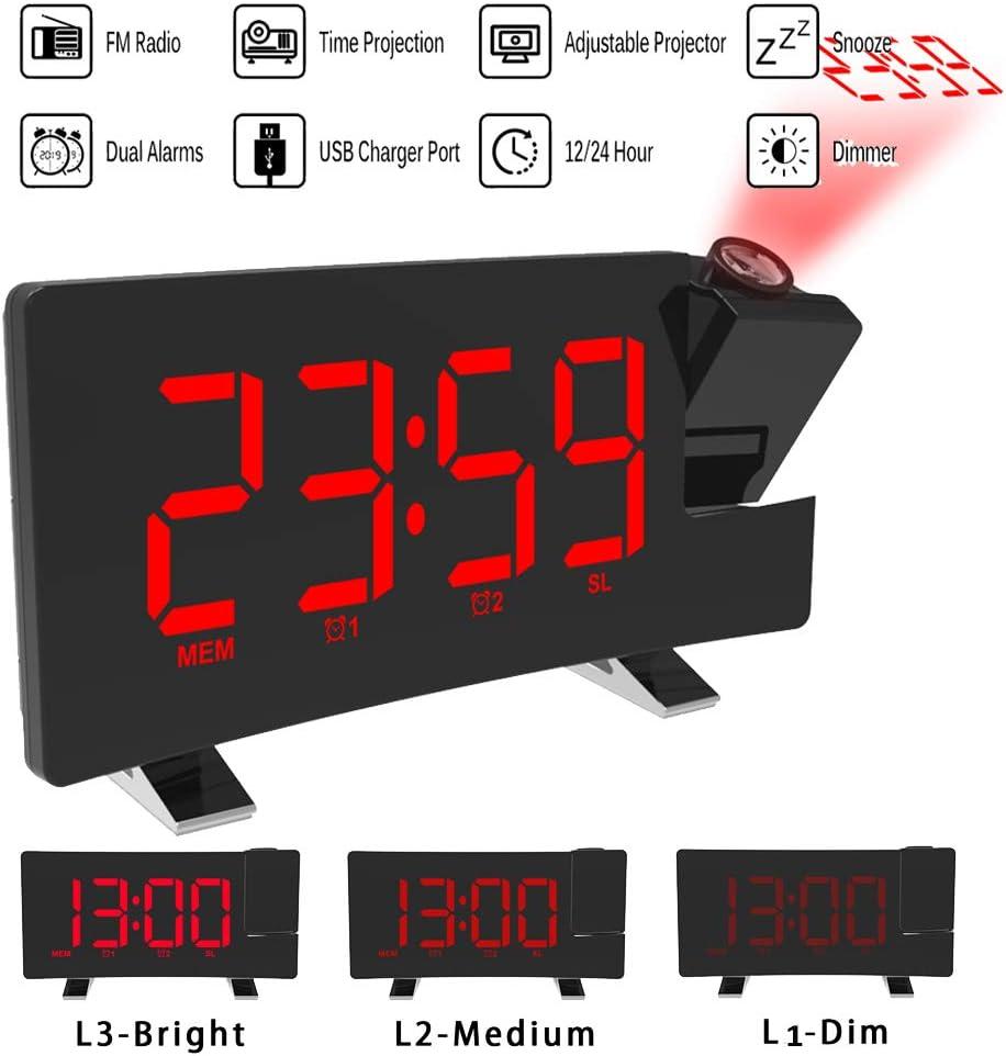 ALLOMN Reloj Despertador de Proyección, Reloj Despertador Digital FM Radio con Pantalla Curva/Proyección de Tiempo/Proyector Ajustable/Posponer/Alarmas Dobles/Puerto de Cargador USB/12/24 Horas (Rojo)