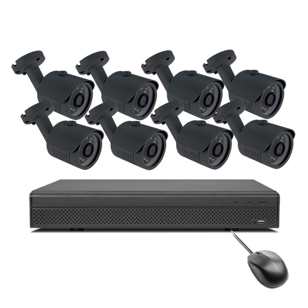 HDView 16 Channel ONVIF 4K NVR with 8 Channel PoE Switch, 8 x 4MP IP Bullet Infrared Night Vision IR Indoor Outdoor Cameras, 1 Channel Audio, Home CCTV Security Surveillance Package Kit