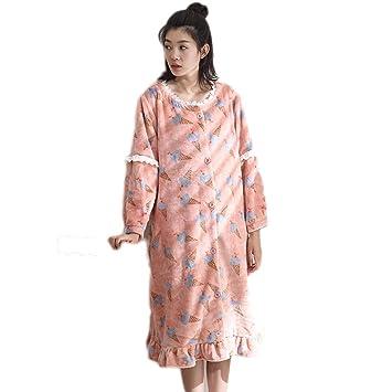 Pijama LINGZHIGAN Señoras de Invierno Terciopelo de Coral de Moda cálida Franela camisón Largo Mujer Invierno