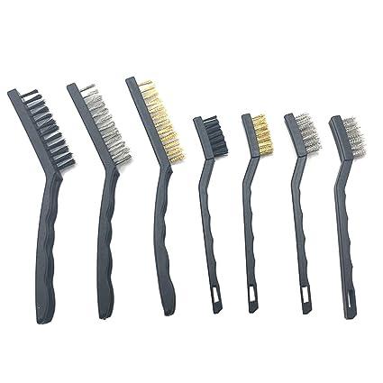 gabbrein 7 pc juego de cepillo de alambre para soldadura de limpieza escoria y óxido,