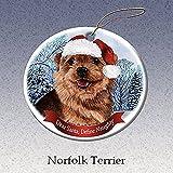 Holiday Pet Gifts Norfolk Terrier Santa Hat Dog Porcelain Christmas Tree Ornament