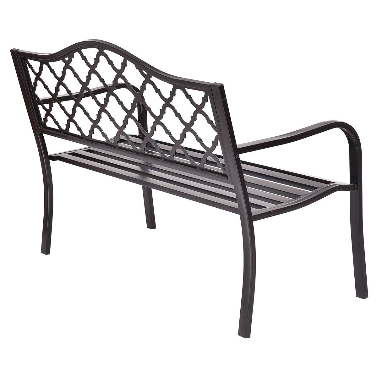 Giantex 50'' Patio Garden Bench Loveseats Park Yard Furniture Decor Cast Iron Frame Black (Black Style 1) by Giantex (Image #4)