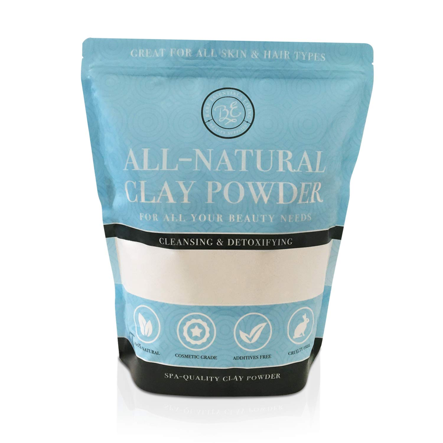 Kaolin White Clay 2 lb Powder, 100% natural for making DIY spa mud mask for face/facial, hair, body, soap, deodorant, bath bomb, setting makeup, lotion and gardening by Bare Essentials Living