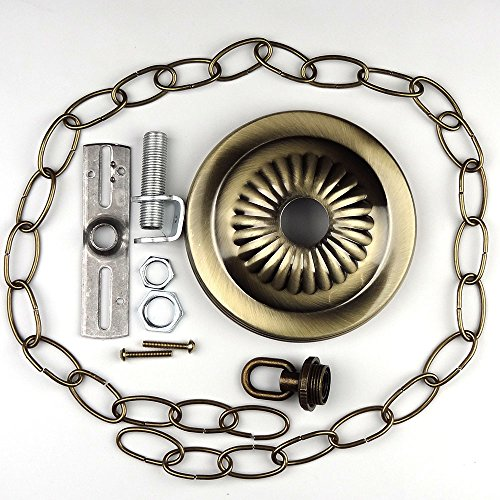 Canopy Kit & Hard-Wire Assembly, Antique Brass Finish with 3ft Chain