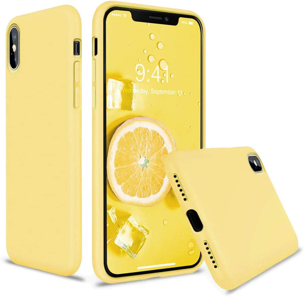 Vooii iPhone Xs Case, iPhone X Case, Soft Liquid Silicone Slim Rubber Full Body Protective iPhone Xs/X Case Cover (with Soft Microfiber Lining) Design for iPhone X iPhone Xs - Lemon Yellow
