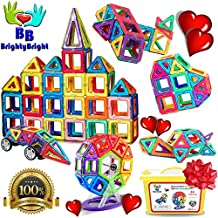 Magnetic Blocks Building Set for Kids - 64 Pc Set Intelligent Magnetic 3D Magnetic Tiles STEM Educational Building Construction Toys for Boys and Girls DELUXE SET with Storage Box