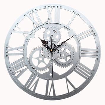 Foxom Horloge Murale Ronde Rétro Vintage 3D Décoration Engrenage Chiffres  Romains Acrylic Pendules murales, Argent cde07e602c6e