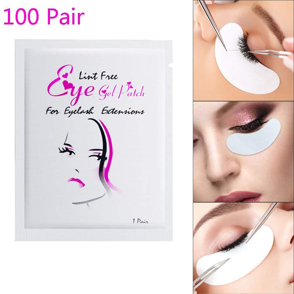 Wecando 100 Pairs Under Eye Gel Pads Eyelash Extension Pads Lint Free DIY False Eyelash Lash Extension Makeup Eye Gel Patches (100, Gold) by Wecando