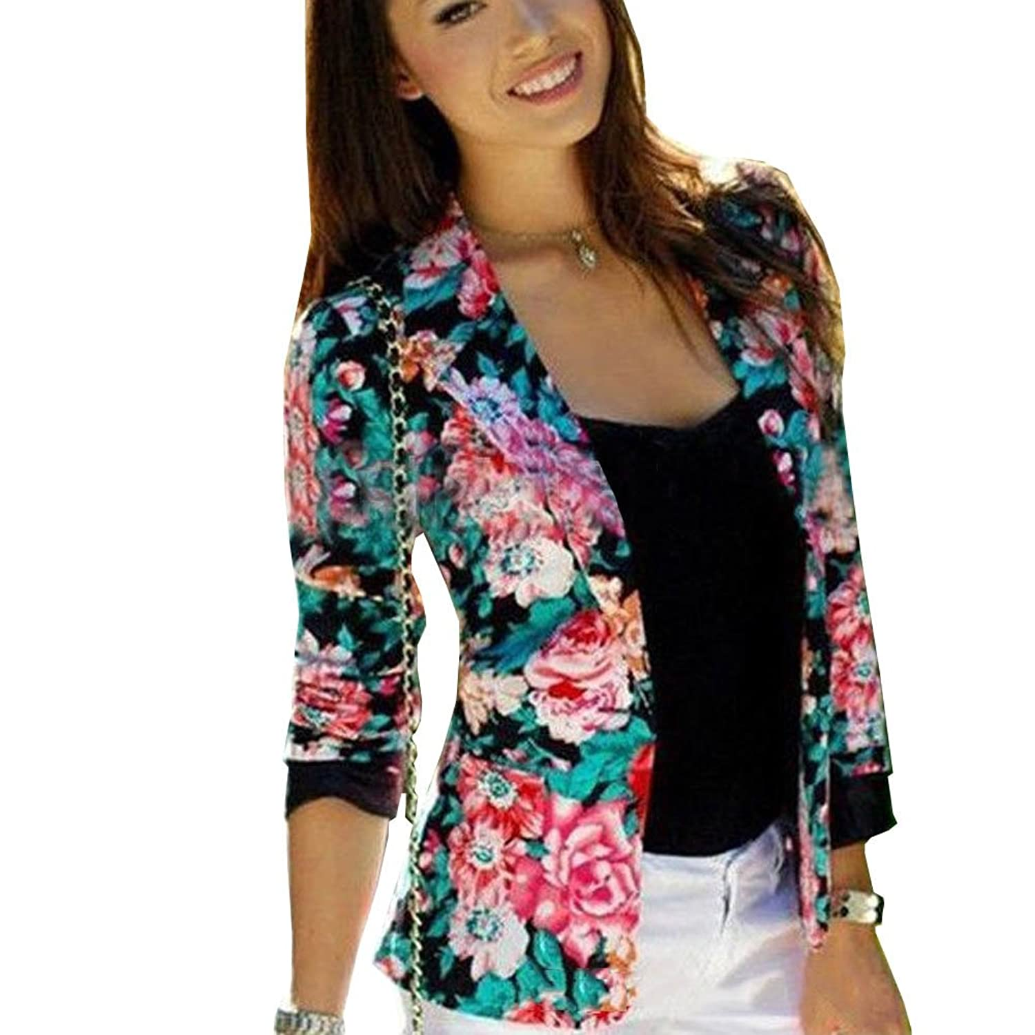 Women Spring Fashion Working Blazer Floral Slim Long Sleeve Casual Suit Coat