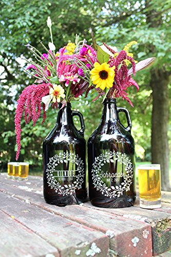 Personalized Etched Wedding Centerpiece Beer Growler 64oz