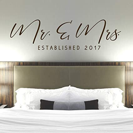 Amazon.com: Mr & Mrs Wall Decal - Master Bedroom Wall Decor ...