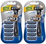 Bic Flex 3 Hybrid Razor For Men - 5 Cartridges & 1 Handle Per Package - Pack of 2 Packages