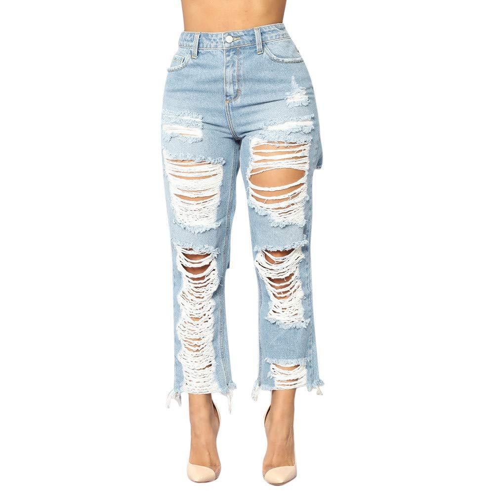 2018 Skinny Jean,Women Denim Hole Mid Waist Female Stretch Slim Sexy Pencil Pants by-NEWONESUN