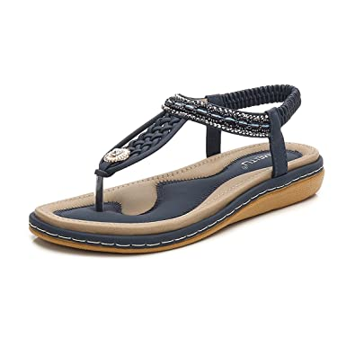 1549f36f7 Women s Flat Sandals Summer Clip Toe Flip Flops Thongs Wedge Sandals Slip  On Bohemian Beach Shoes