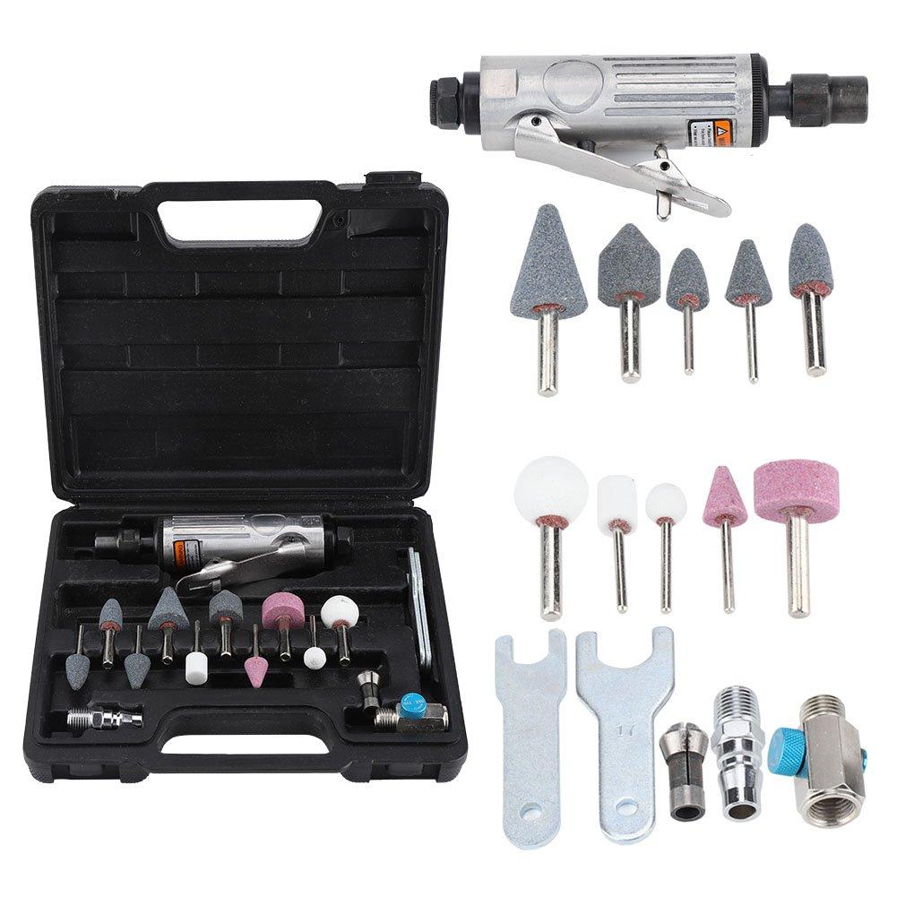 Qiilu 16Pcs Air Die Grinder Pneumatic Grinding Tool Air Grinder Polishing Engraving Kit 1/4'' 1/8''