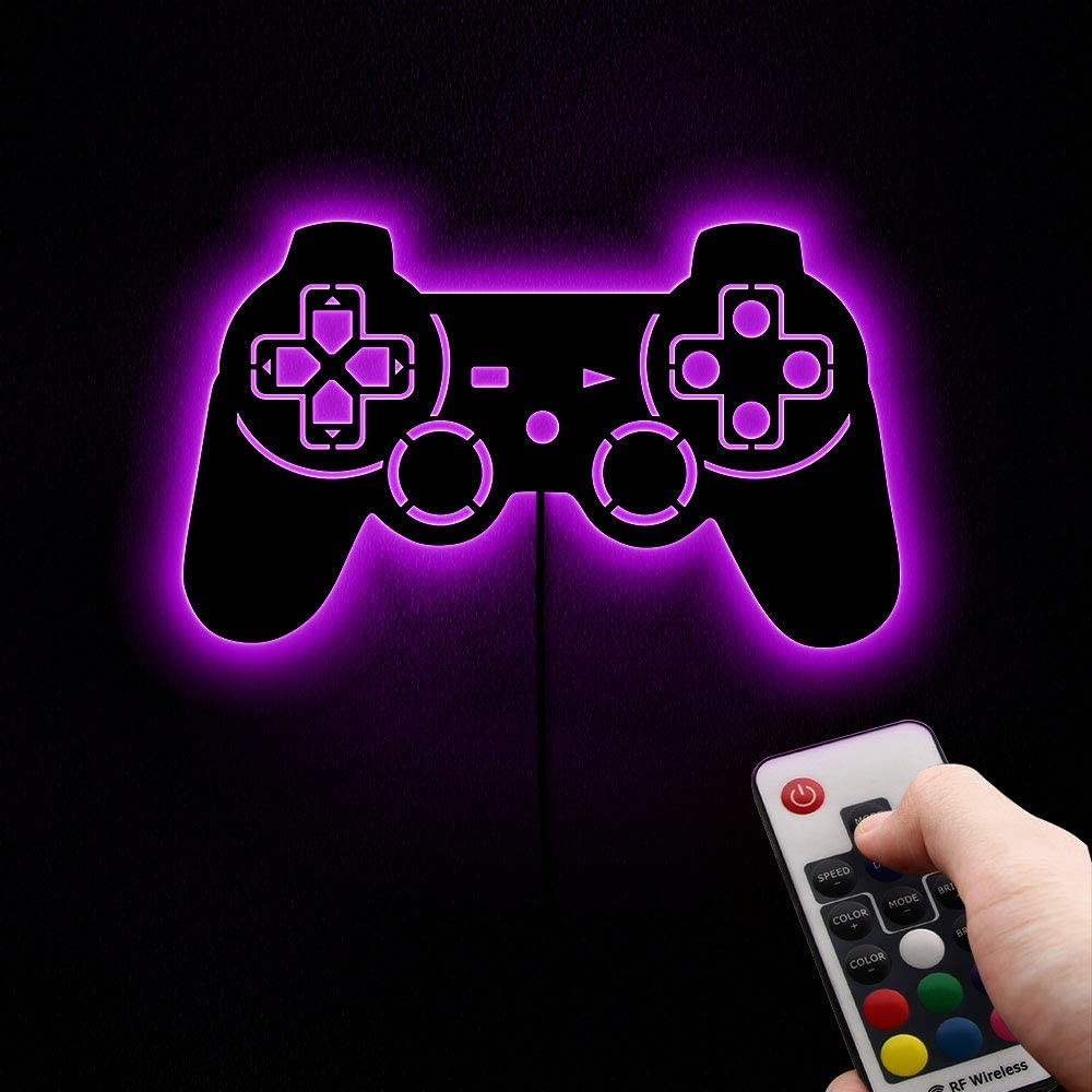 The Geeky Days Video Gamepad Controller Decorative Color Changing Mirror with LED Backlight Luminous Wall Sign Gamers Wall Lamp Cool Game Room Interior Decor