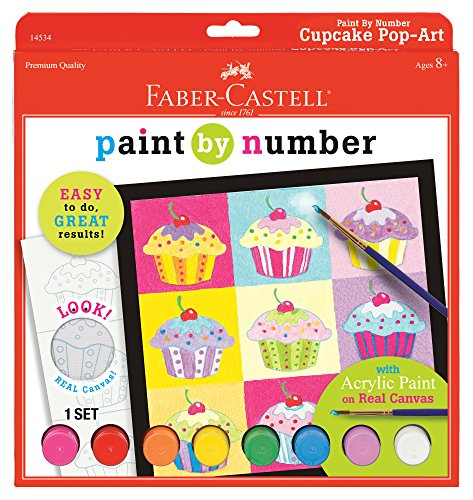 Faber Castell Paint by Number Cupcake Pop-Art - Complete Paint by Number Kit for Kids