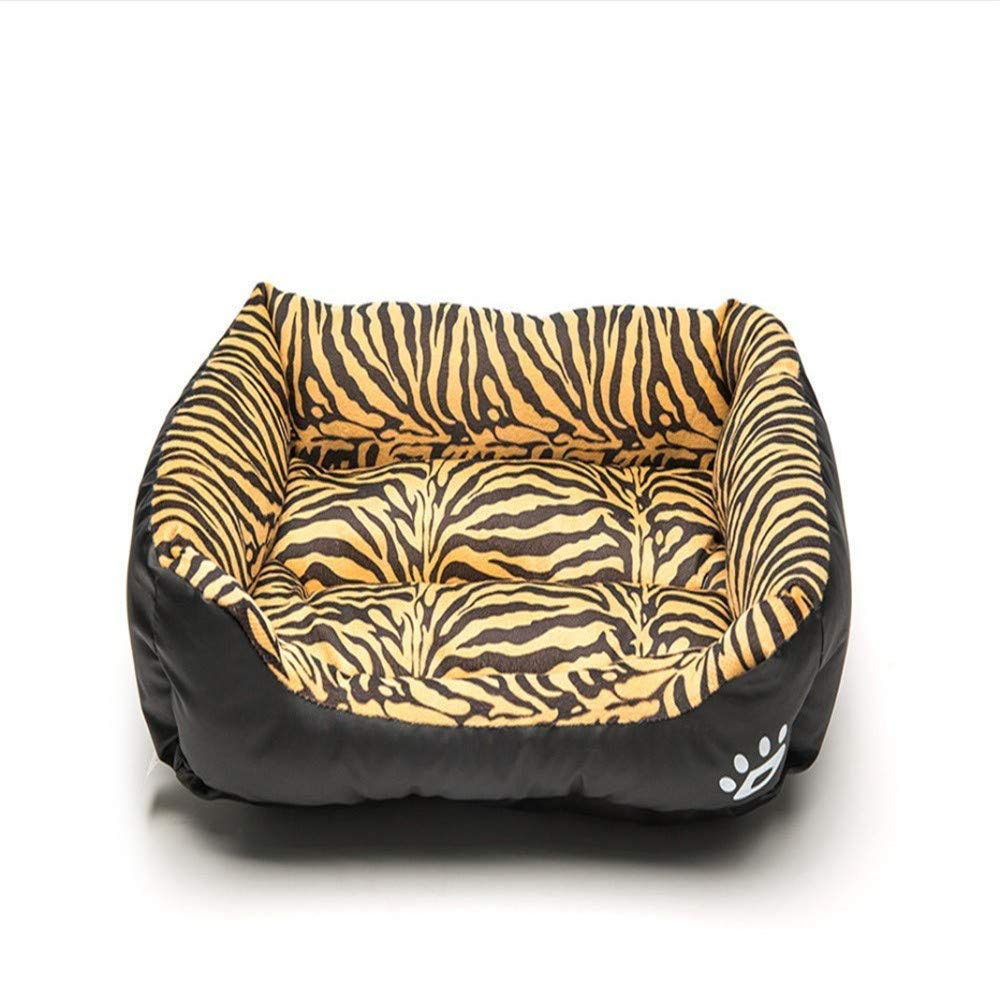 M Wuwenw Pet Nest Fashion Tiger Pattern Waterproof Kennel Cat Litter Four Seasons Universal Breathable Pet Nest,M